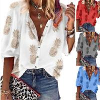Women 3/4 V-neck Shirt Chiffon Flora Print T-Shirt Ladies Loose Casual Tops