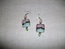 PINK AND GREEN GLASS DANGLE PIERCED EARRINGS