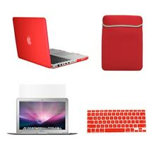 """4in1 Rubberized RED Case for Macbook PRO 13"""" + Keyboard Cover + LCD Screen + Bag"""
