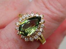 18k Gold Green Namibian Demantoid Garnet & vs Diamond Ring 2.48ctw Gem Report