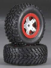 Traxxas 1/16 Slash Assembled SCT Tires & Chrome Red Beadlock Satin Wheels 7073A