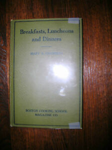 Breakfasts, Luncheons and Dinners By Mary D Chambers 1924 Boston Cooking School
