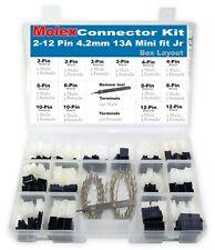 417pcs Molex 2-12 Circuits 13amp, Gauge 18-24 AWG  Mini-Fit Jr, w/ Remove tool