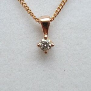 Brand New 9ct Rose Gold 1/5ct Diamond Solitaire Pendant/Necklace £190 Freepost