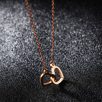 Hollow 2 Heart Rose Gold GP Surgical Stainless Steel Pendant Necklace Gift
