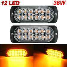 2* Amber 12 LED 36W Strobe Light Bar Car Truck Hazard Beacon Flash Warning Lamp