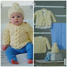 Baby KNITTING PATTERN Cable Jumper Cardigan Hat & Blanket Chunky King Cole 4847