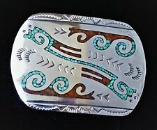 Sterling Belt Buckle ~ Turquoise & Coral Chip Inlay ~ Navajo Design ~ Unsigned