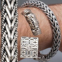 WOVEN HEAVY TRIBAL BRAIDED CHAIN 925 STERLING SILVER MENS BRACELET 8 8.5 9 10""