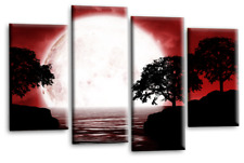 Landscape Abstract Art Picture Black White Red Big Moon Reflection Canvas