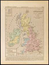 1859. Angleterre Écosse et Irlande. Carte géographique ancienne Houze