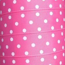 "22mm Polka Dot Grosgrain Ribbon - By The Metre - 7/8"" Wide Three White Spots"