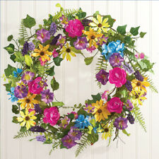 "Summer Hanging Wall Wreath Decoration 21"" Spring Door Decor Flower Home Ornament"