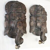 Vintage Ganesh Wall Hanging Ganesha Sculpture Pair Hindu Temple Wooden Statue
