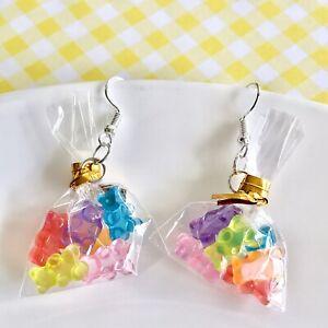Cute Miniature Lolly Bags Gummy Bears Fun Dangle Earrings/ Gummi Bear Candy