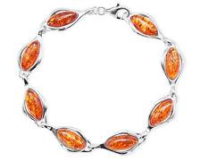 925 Sterling Silber Armband mit ovalen Bernsteinen für Damen