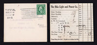 Scott #462 TIFFIN OHIO POSTCARD EARLY ELECTRIC METER READING OHIO LIGHT & POWER