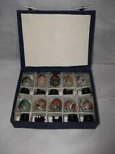 Vintage Marble Onyx Eggs w/Case & Display Stands Handpainted Bird/Floral Designs