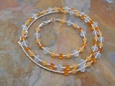 HDMD by Cyndi Necklace Bracelet Set made with Orange, Clear & Silver Glass Beads