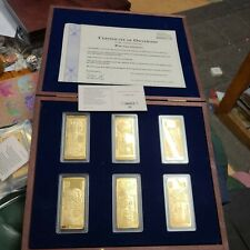 More details for  british banknotes ingots collection coins 6 gold plated bars with coa