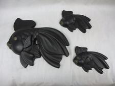Vtg Mid Century Black Fish Chalkware Wall Plaques Miller Studio Bathroom Mod 70s
