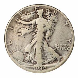1938-D Silver Walking Liberty Half Dollar 50C (Very Good, VG Condition)