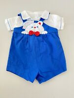 Vtg 24 Month Baby Boy Blue Teddy Bear Nautical Boy Outfit Shortalls Overalls
