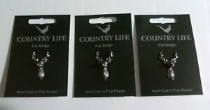 Three Stag Silver Pewter Lapel Pin Badges