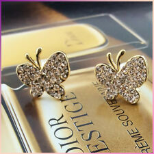18K Rose Gold Plated Shinning Sparkling Crystal Butterfly Stud Earrings VINTAGE