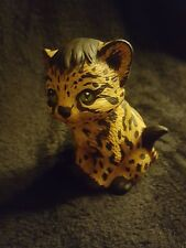 Vintage Adorable Ocelot Porcelain Cub Cat Figurine Japan