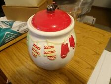 Collectible Hallmark Cookie Jar w/Mittens, Snowflakes & Jingle Bell Knob on Lid