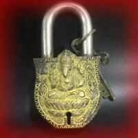 Vintage Bronze Lock Key Ancient Chinese Old Lock 2*Key Ganesha Can Be Use
