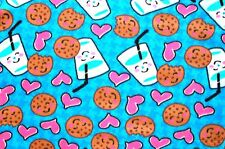 SNUGGLY COOKIES, GLASSES OF MILK & PINK HEARTS FLEECE MATERIAL 2 YDS 60 X 72""