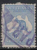6d Australia Kangaroo 3rd Wmk third watermark PURPLE *PARCEL* CANCEL POSTMARK