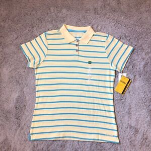 Cabela's Womens Polo Shirt Yellow Blue Striped Buttons Short Sleeve Cotton L New