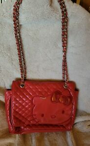 Hello Kitty  Red Quilted Leather Crossbody Bag