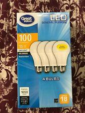 4 PACK LED 100W = 15W Daylight 100 Watt Equivalent 1650 lumen A19 5000K E26 bulb