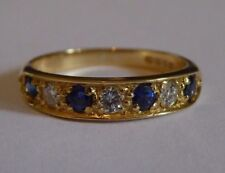 Diamond & SAPPHIRE 7 stone band style RING 18 carat QUALITY GOLD Sparkly gift