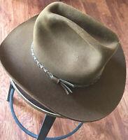 Vintage Brown STETSON 3X BEAVER Cowboy HAT Size 7 1/8 Oval Long