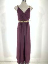 Calvin Klein NWT Elegant AUBERGINE Chiffon One shoulder Beaded waist Gown 6