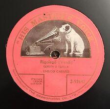 """RARE 78 RPM 10"""" ONE SIDED TENORE ENRICO CARUSO RIGOLETTO QUESTA O QUELLA VERDI"""