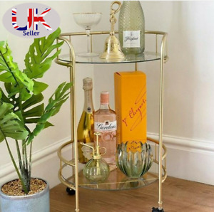Stylish Gold Drinks Trolley Two Glass Shelves Eye Catching Gold With Castor