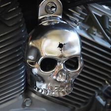 Polished aluminum bin laden skull horn cover.  Harley Davidson. SKU-HBH-2