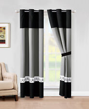 4-Pc Riya Diamond Meander Greek Key Stripe Curtain Set Black White Gray Grommet
