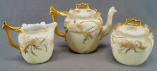 T & V Limoges Hand Painted Signed IBW Pink Daisy & Gold Tea Set Circa 1892