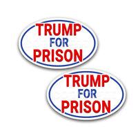 Anti Trump Bumper Stickers Oval White Trump for Prison Decals Blue Bdr 2 pack