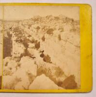Stereoview Remains Of Euryalus Fortress On Epipola Hill Sicily Italy French (O)