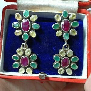 925 Sterling Silver Natural Emerald,Ruby & Sapphire Earrings Jewelry Pair