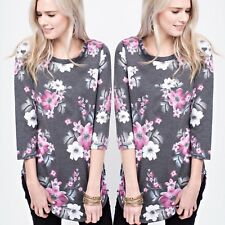 🌸NWT Women's Small Pink Floral Top Blouse Long Sleeve Usa Made BOUTIQUE TOP