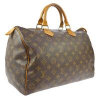 LOUIS VUITTON SPEEDY 35 HAND BAG MONOGRAM CANVAS LEATHER M41524 VI871 A50974